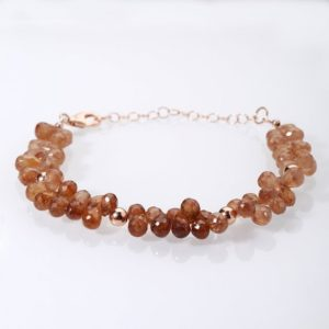 Shop Zircon Bracelets! Brown Zircon faceted drop Bracelet Sterling silver rose gold bracelet Beautiful party bracelet Gemstone bracelet Christmas Gift,Gift for her | Natural genuine gemstone jewelry in modern, chic, boho, elegant styles. Buy crystal handmade handcrafted artisan art jewelry & accessories. #jewelry #beaded #beadedjewelry #product #gifts #shopping #style #fashion #product