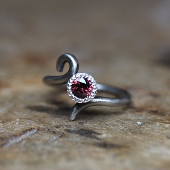 Romantic Wine Red Zircon Engagement Ring Dark Silver Antique Finish Simple Bridal Milgrain Scroll Band Maroon Gemstone Boho - Burgundy Drop