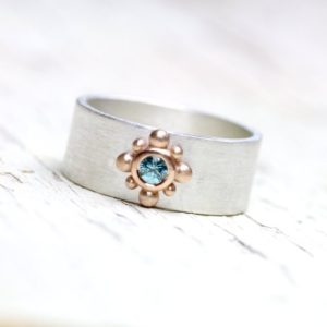 Wide Blue Zircon Wedding Band Ornamental 14k Rose Gold Detail Silver Unisex Modern Boho Floral Ice Rose Unique Pink Bridal Ring – Eisrose | Natural genuine Zircon rings, simple unique alternative gemstone engagement rings. #rings #jewelry #bridal #wedding #jewelryaccessories #engagementrings #weddingideas #affiliate #ad