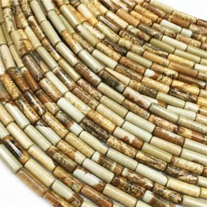 Shop Picture Jasper Bead Shapes! 1 Full Strand Picture Jasper Tube Beads ,4X13MM ,Approx 28pcs Beads | Natural genuine other-shape Picture Jasper beads for beading and jewelry making.  #jewelry #beads #beadedjewelry #diyjewelry #jewelrymaking #beadstore #beading #affiliate #ad