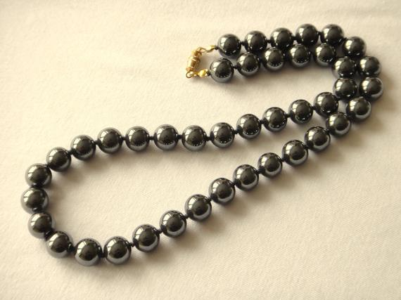 10mm Hematite Necklace - Various Length Options  Genuine Natural 10 Mm Grey Beads Hand Knotted Necklace Haematite Mapenzigems