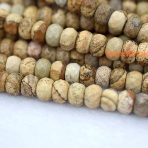 "Shop Picture Jasper Beads! 15.5"" 5x8mm Natural picture stone rondelle faceted beads,Landscape jasper,picture jasper, 5x8mm rondelle faceted beads QGC 