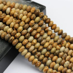 "Shop Picture Jasper Rondelle Beads! 2.0mm Hole Picture Jasper Smooth Rondelle Beads 5x8mm 6x10mm 8"" Strand 