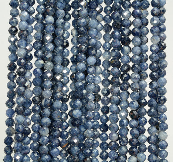 3mm Blue Sapphire Gemstone Blue Grade Aaa Fine Faceted Round Cut Loose Beads 15.5 Inch Half Strand (80005375-461)