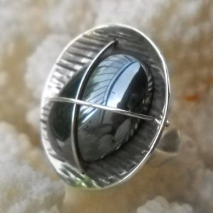 Shop Hematite Rings! 925 Sterling Silver ring, Hematite Cabochon Stone, women's adjustable handmade ring, minimalist unique geometric ring | Natural genuine Hematite rings, simple unique handcrafted gemstone rings. #rings #jewelry #shopping #gift #handmade #fashion #style #affiliate #ad