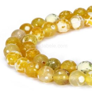 Shop Agate Faceted Beads! U Pick Natural Faceted Yellow Fire Agate Gemstone Loose Round Beads 4mm 6mm 8mm 10mm Spacer 15 inch Per Strand for Jewelry Craft Making #GH3 | Natural genuine faceted Agate beads for beading and jewelry making.  #jewelry #beads #beadedjewelry #diyjewelry #jewelrymaking #beadstore #beading #affiliate #ad