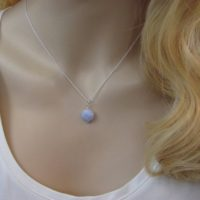 Blue Lace Agate Necklace Sterling Silver, Gifts For Her, Simple Layering Necklace | Natural genuine Gemstone jewelry. Buy crystal jewelry, handmade handcrafted artisan jewelry for women.  Unique handmade gift ideas. #jewelry #beadedjewelry #beadedjewelry #crystaljewelry #gemstonejewelry #handmadejewelry #jewelry #affiliate