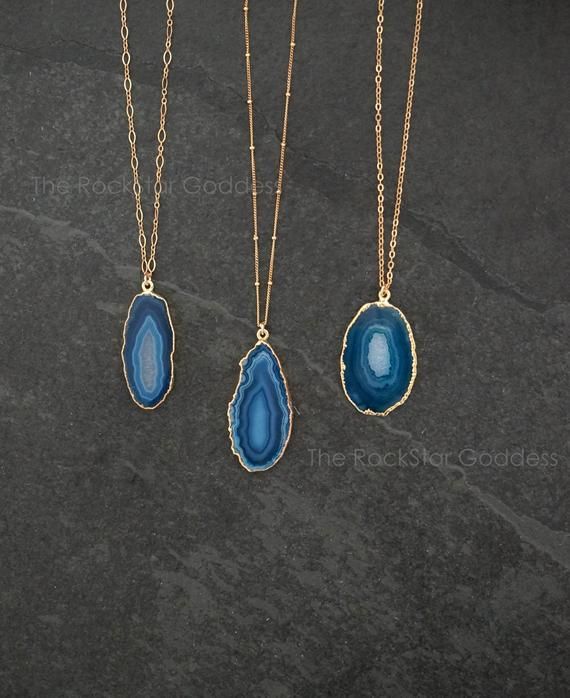 Druzy Necklace / Agate Necklace / Blue Agate Necklace / Crystal Necklace / Agate Jewelry