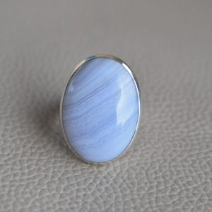 Natural Blue Lace Agate Ring-Handmade Silver Ring-925 Sterling Silver Ring-Oval Blue Lace Agate Ring-Gift for her-Promise Ring | Natural genuine Agate rings, simple unique handcrafted gemstone rings. #rings #jewelry #shopping #gift #handmade #fashion #style #affiliate #ad