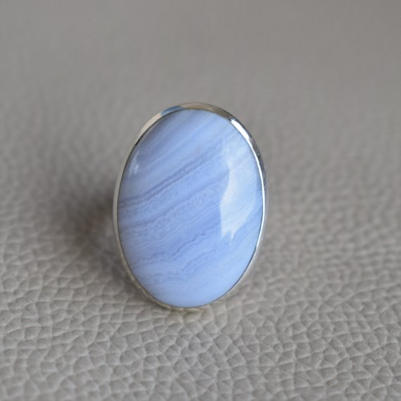 Natural Blue Lace Agate Ring-handmade Silver Ring-925 Sterling Silver Ring-oval Blue Lace Agate Ring-gift For Her-promise Ring