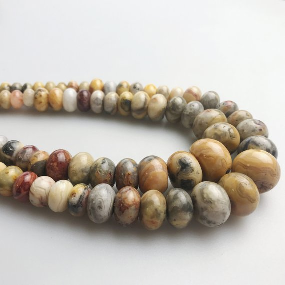 "Natural Crazy Agate Graduated Smooth Rondelle Beads 6-16mm 15.5"" Strand"