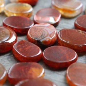Fire Agate Stone Shaped Disk J39 | Natural genuine stones & crystals in various shapes & sizes. Buy raw cut, tumbled, or polished gemstones for making jewelry or crystal healing energy vibration raising reiki stones. #crystals #gemstones #crystalhealing #crystalsandgemstones #energyhealing #affiliate #ad