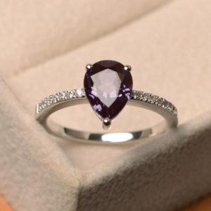 Shop Alexandrite Rings! Alexandrite Ring Silver, Pear Cut Alexandrite , June Birthstone Gemstone Ring, sterling Silver Ring, Engagement Ring | Natural genuine Alexandrite rings, simple unique alternative gemstone engagement rings. #rings #jewelry #bridal #wedding #jewelryaccessories #engagementrings #weddingideas #affiliate #ad