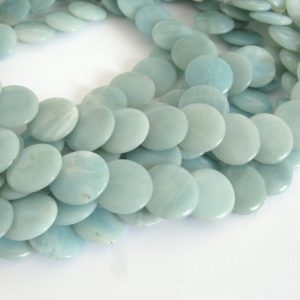 Shop Amazonite Bead Shapes! Amazonite Beads, Natural Amazonite Stacking Coin Beads, 16mm Coin Beads, Genuine Amazonite, Design Element,  Amaz205 | Natural genuine other-shape Amazonite beads for beading and jewelry making.  #jewelry #beads #beadedjewelry #diyjewelry #jewelrymaking #beadstore #beading #affiliate #ad