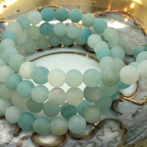 Shop Amazonite Round Beads! Amazonite Matte Frost Round Beads 6 Mm / Natural Blue Amazonite Beads / Birds Egg Tones / Natural Gemstone Beads | Natural genuine round Amazonite beads for beading and jewelry making.  #jewelry #beads #beadedjewelry #diyjewelry #jewelrymaking #beadstore #beading #affiliate #ad