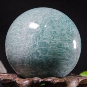 "Shop Amazonite Shapes! 2.2""Large Natural Amazonite Sphere/Tumbled Amazonite Ball/Green rock Sphere/Hand Carved Gemstone Sphere/Crystal Healing/Gift-56mm 258g #8781 