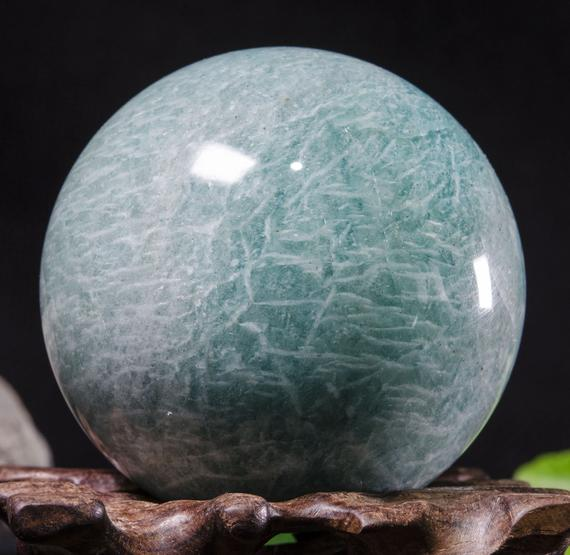 """2.2""""large Natural Amazonite Sphere/tumbled Amazonite Ball/green Rock Sphere/hand Carved Gemstone Sphere/crystal Healing/gift-56mm 258g #8781"""