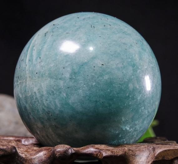 "2""large Natural Amazonite Sphere / Tumbled Amazonite Ball / Green Rock Sphere / Hand Carved Gemstone Sphere / Crystal Healing / Gift-52mm 192g #8784"