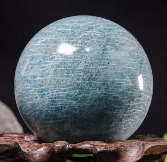 "2""large Natural Amazonite Sphere / Tumbled Amazonite Ball / Green Rock Sphere / Hand Carved Gemstone Sphere / Crystal Healing / Gift-52mm 215g #8782"