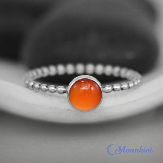 Amber Stacking Ring, Silver Amber Ring, Baltic Amber Promise Ring For Her, Simple Amber Ring | Moonkist Designs