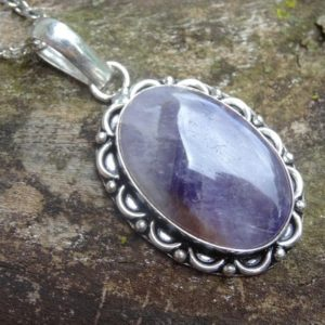 "Shop Amethyst Pendants! Natural Amethyst Sterling Silver Natural Stone Pendant Necklace – Sterling Silver 18"" Rolo Chain – Natural Stone Necklace – Boho chic 