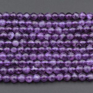 "Natural Amethyst 4mm 6mm 8mm Round Beads Superior A Grade High Quality Polished Rich Purple Spheres Gemstone Beads 16"" Strand 