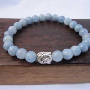 Shop Angelite Jewelry! Angelite Bracelet Healing Chakra Bracelet Yoga Meditation Angelite Bracelet Angelite Aquarius Bracelet Throat Chakra Yoga Angelite Bracelet | Natural genuine Angelite jewelry. Buy crystal jewelry, handmade handcrafted artisan jewelry for women.  Unique handmade gift ideas. #jewelry #beadedjewelry #beadedjewelry #gift #shopping #handmadejewelry #fashion #style #product #jewelry #affiliate #ad