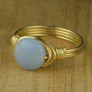 Angelite Ring – Sterling Silver, Yellow or Rose Gold Filled Wire Wrapped Ring with Smooth Round Gemstone – Size 4 5 6 7 8 9 10 11 12 13 14 | Natural genuine Angelite rings, simple unique handcrafted gemstone rings. #rings #jewelry #shopping #gift #handmade #fashion #style #affiliate #ad