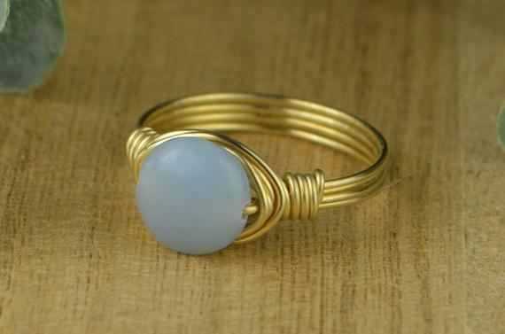 Angelite Ring - Sterling Silver, Yellow Or Rose Gold Filled Wire Wrapped Ring With Smooth Round Gemstone - Size 4 5 6 7 8 9 10 11 12 13 14