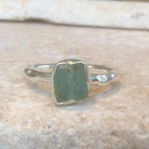 Shop Apatite Rings! Blue Apatite Silver Ring, Raw Apatite Ring, Rough Gemstone, Rough Blue Apatite Ring, Natural Gemstone Silver Ring, Boho Silver Ring | Natural genuine Apatite rings, simple unique handcrafted gemstone rings. #rings #jewelry #shopping #gift #handmade #fashion #style #affiliate #ad