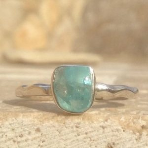 Shop Apatite Rings! Raw Apatite Silver Ring, Ready to Ship 925 Ring with Stone, Best Friend Gift | Natural genuine Apatite rings, simple unique handcrafted gemstone rings. #rings #jewelry #shopping #gift #handmade #fashion #style #affiliate #ad