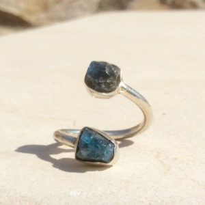 Shop Apatite Rings! Raw Apatite Two Stone Silver Ring, Double Stone Ring, Best Friend Gift For Christmas | Natural genuine Apatite rings, simple unique handcrafted gemstone rings. #rings #jewelry #shopping #gift #handmade #fashion #style #affiliate #ad
