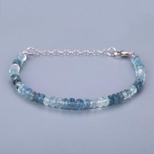 Shop Aquamarine Bracelets! Santa Maria Aquamarine Faceted Roundel Beaded Bracelet Ombre Bracelet March Birthstone Semi Precious Gemstone Wedding Gift Birthday Gift | Natural genuine Aquamarine bracelets. Buy handcrafted artisan wedding jewelry.  Unique handmade bridal jewelry gift ideas. #jewelry #beadedbracelets #gift #crystaljewelry #shopping #handmadejewelry #wedding #bridal #bracelets #affiliate #ad