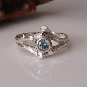 Twig Style Solitaire Ring, Blue Aquamarine Wedding Ring, Beautiful Alternative Wedding Ring, Branch, Nature, Tree Style By Dawn Vertrees | Natural genuine Gemstone rings, simple unique alternative gemstone engagement rings. #rings #jewelry #bridal #wedding #jewelryaccessories #engagementrings #weddingideas #affiliate #ad