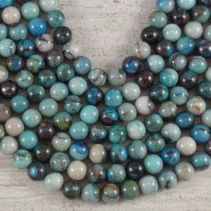 Shop Azurite Round Beads! Azurite aka Azurite w/ Agate (Real Azurite) Round 6mm 8mm 10mm 12mm | Natural genuine round Azurite beads for beading and jewelry making.  #jewelry #beads #beadedjewelry #diyjewelry #jewelrymaking #beadstore #beading #affiliate #ad