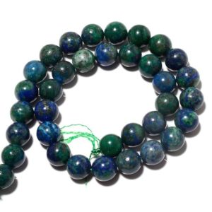 Shop Azurite Round Beads! Azurite Beads, Lapis Chrysocolla, Natural Azurite Malachite, 10mm Round Beads, 13 Inch Strand, SKU-BB43 | Natural genuine round Azurite beads for beading and jewelry making.  #jewelry #beads #beadedjewelry #diyjewelry #jewelrymaking #beadstore #beading #affiliate #ad