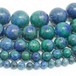 "Azurite Malachite Chrysocolla Beads Natural Gemstone Round Loose – 4mm 6mm 8mm 10mm 12mm – 15.5"" Strand 