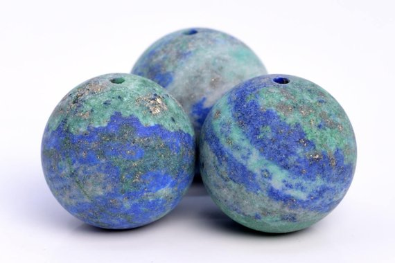 24 / 12 / 7 Pcs - 15mm Matte Azurite Beads Grade Aaa Natural Round Gemstone Loose Beads (103609)