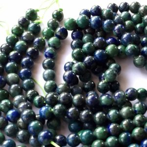"Shop Azurite Round Beads! Azurite Round Beads Gemstone Beads 6mm Full Strand  1 – 13.5"" Strand Necklace Jewelry Design 