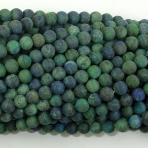 Shop Azurite Beads! Matte Azurite Malachite Beads, 4mm (4.6mm) Round Beads, 15.5 Inch, Full strand, Approx 88 beads, Hole 0.8mm, A quality (129054012) | Natural genuine beads Azurite beads for beading and jewelry making.  #jewelry #beads #beadedjewelry #diyjewelry #jewelrymaking #beadstore #beading #affiliate #ad