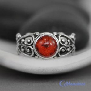 Shop Amber Jewelry! Baltic Amber Ring – Sterling Silver Filigree Ring – Amber Engagement Ring – Amber Promise Ring – Silver Amber Ring – May Birthstone Ring | Natural genuine Amber jewelry. Buy handcrafted artisan wedding jewelry.  Unique handmade bridal jewelry gift ideas. #jewelry #beadedjewelry #gift #crystaljewelry #shopping #handmadejewelry #wedding #bridal #jewelry #affiliate #ad