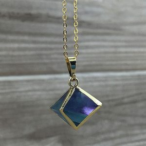 Shop Fluorite Necklaces! Beautiful Fluorite Necklace, Rainbow Fluorite Stone Dice Pendant with Gold Electroplated Bails FS02 | Natural genuine Fluorite necklaces. Buy crystal jewelry, handmade handcrafted artisan jewelry for women.  Unique handmade gift ideas. #jewelry #beadednecklaces #beadedjewelry #gift #shopping #handmadejewelry #fashion #style #product #necklaces #affiliate #ad