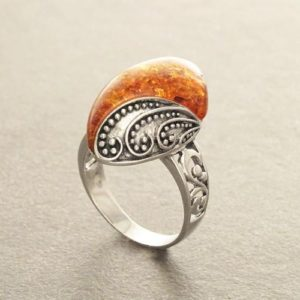Shop Amber Jewelry! Boho Amber Ring, Sterling Silver 925, GENUINE Amber Gemstone with Inclusions, Intricate Filigree Jewelry, Antique Vintage Bali Bohemian Ring | Natural genuine Amber jewelry. Buy crystal jewelry, handmade handcrafted artisan jewelry for women.  Unique handmade gift ideas. #jewelry #beadedjewelry #beadedjewelry #gift #shopping #handmadejewelry #fashion #style #product #jewelry #affiliate #ad