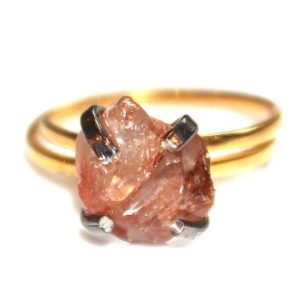 Shop Zircon Rings! Bright Tangerine Zircon Ring Raw Zircon Ring Free Form Ring Zircon Jewelry Prong Set Orange Ring Free Form Ring Mixed Metal Ring | Natural genuine Zircon rings, simple unique handcrafted gemstone rings. #rings #jewelry #shopping #gift #handmade #fashion #style #affiliate #ad
