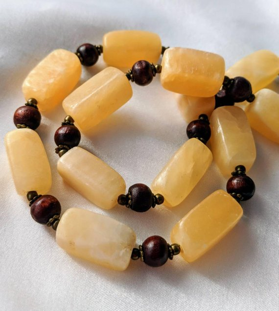 Chunky, Handmade Necklace With Alabaster Calcite, Wood, & Gold Beads. Cream, Golden, And Sunny Yellow Luminous Stones. Long Boho Jewelry