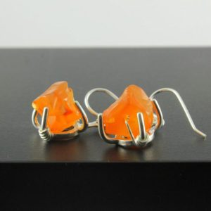 Shop Carnelian Earrings! Rough Carnelian Earrings Sterling Silver – Orange Earrings – Rough Gemstone Jewelry | Natural genuine Carnelian earrings. Buy crystal jewelry, handmade handcrafted artisan jewelry for women.  Unique handmade gift ideas. #jewelry #beadedearrings #beadedjewelry #gift #shopping #handmadejewelry #fashion #style #product #earrings #affiliate #ad