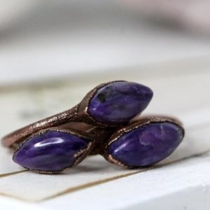 Charoite Ring – Mineral Ring – Natural Purple Stone – Deep Purple Stone – Stacking Ring | Natural genuine Charoite rings, simple unique handcrafted gemstone rings. #rings #jewelry #shopping #gift #handmade #fashion #style #affiliate #ad