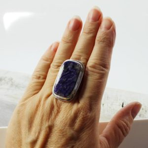 Shop Charoite Rings! Charoite Stone Ring Set On 925 Silver Mount, Big Rectangular Purple Ring | Natural genuine Charoite rings, simple unique handcrafted gemstone rings. #rings #jewelry #shopping #gift #handmade #fashion #style #affiliate #ad