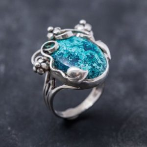 Shop Chrysocolla Rings! Blue Flower Ring, Chrysocolla Ring, Statement Ring, Vintage Blue Rings, Sagittarius Birthstone, Large Stone Ring, Silver Ring, Chrysocolla | Natural genuine Chrysocolla rings, simple unique handcrafted gemstone rings. #rings #jewelry #shopping #gift #handmade #fashion #style #affiliate #ad