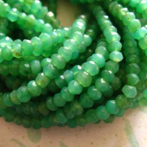 Shop Sale.. Chrysoprase Rondelles,, Luxe AAA, 3.5-4 mm, Faceted, 1/2 Strand, Natural, Australian may birthstone tr | Natural genuine faceted Chrysoprase beads for beading and jewelry making.  #jewelry #beads #beadedjewelry #diyjewelry #jewelrymaking #beadstore #beading #affiliate #ad